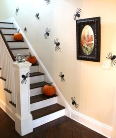 All you need to create this spooky staircase are black paper, pumpkins, and a fake skull. Cut out spiders from black paper and stick them along the staircase walls. Display the pumpkins on the stairs and the skull on the stair's newel post.