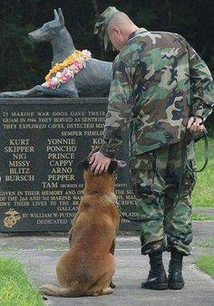 Soldier and a dog visting a fallen dog veteran memorial park.