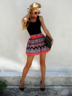 Bold skirt, black tank top