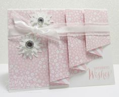 Pink & white Drapery Fold wedding cards from Song of My Heart