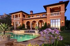 Pretty backyard with pool, neutral color