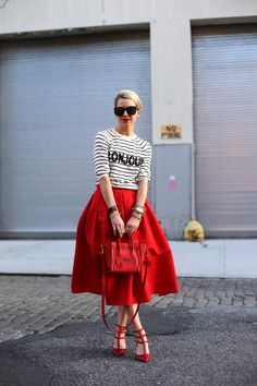 on repeat (ASOS sweater + Tibi skirt + Valentino heels + Celine bag + Karen Walker sunnies + Essie 'hip-anema' nails + NARS 'luxembourg' lips) Look Fashion, Street Fashion, Womens Fashion, Fashion Trends, Red Fashion, Skirt Fashion, Spring Fashion, Mode Chic, Mode Style