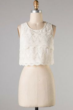 Sleeveless Lace Crop Top $32