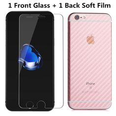 Tempered Glass For iPhone 6 6s 7 6 plus 6s 7 plus 5 5s 5C 4 4s Screen Protector Film And Transparent Carbon Fiber Back Film Soft