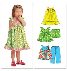 Toddlers' Tops, Dresses, Shorts and Capri Pants. Contrast fabrics. McCall's 5835