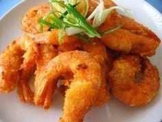 How to make Fried Shrimp - Ingredients:Shrimps - 1 kg, shelled, deveined, tails intactMaida - 6 tblspEgg - beatenBaking Powder - 2 tspSalt - 2 tspWater - 1 cupOil - 4 cups, Fried Shrimp Recipes, Shrimp Dishes, Seafood Recipes, Snack Recipes, Cooking Recipes, Snacks, Greek Recipes, Indian Food Recipes, Asian Recipes