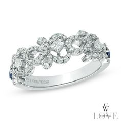 Vera Wang LOVE Collection 1/2 CT. T.W. Diamond and Blue Sapphire Curlique Band in 14K White Gold