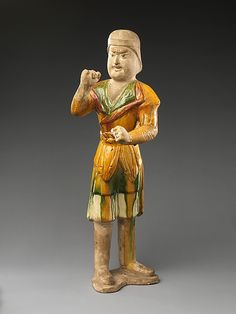 Figure of a Groom Period: Tang dynasty Date: ca. late half of the century Culture: China Medium: Earthenware with three-color (sancai) glaze and pigments Stone Age Art, The Han Dynasty, Terracota, China Art, Chinese Ceramics, Chinese Antiques, Ancient History, First World, Archaeology