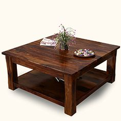 Sierra Nevada 2 Tier Large Rustic Square Coffee Table Tableswood