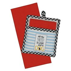 "These potholders are printed with a fun light blue and white striped design. The edges of the potholder are accented with a cute black and white gingham plaid print. In the center of the potholder is a dog breed silhouette design along with the saying ""All You Need is Love and a Dog."" Perfect for …"