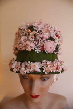 Bee in Her Bonnet - Early 1960s Trudy Campbell s Floral High Bucket Hat  Easter Bonnets b91647df90ef