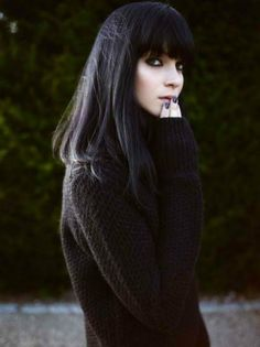 Dark long bob with bangs - the color is nice, but I just REALLY love the long bob idea *-*