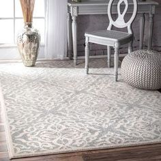 nuLOOM Modern Medallion Trellis Silver Rug (4' x 6') | Overstock.com Shopping - The Best Deals on 3x5 - 4x6 Rugs