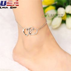 Simple Style Jewelry Double Heart Chain Beach Sandal Anklet Foot Ankle Bracelet