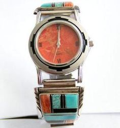 Men's Native American Navajo Turquoise Spiny Oyster Inlay Sterling Silver Watch Tips By Ruth Ann Begay