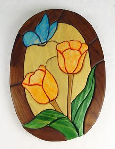 Handcrafted Wooden Intarsia Orange Tulip Flower Blue Butterfly Wall Hanging Plaque