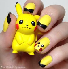 Let us paint our nails to show our love for this pretty character. Look at the collection of Pokemon Pikachu nails art designs & stickers of Pokemon Go, Pikachu Pikachu, Pikachu Nails, Heart Nail Art, Heart Nails, Pikachu Makeup, Anime Nails, Nail Art For Kids, Yellow Nail Art