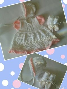 A very pretty white and pink dress set, comprising lacy dress, bonnet and bootees, to fit 0-3 months.