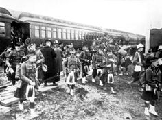 Highlanders arrive at Camp Valcartier, Quebec before shipping off to World War 1.