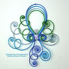 Aqua Marine Octopus - Handmade Wall hanging by melissawoods on Etsy