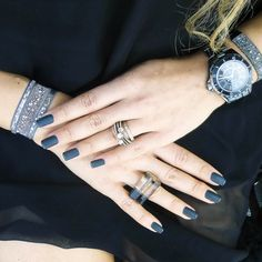 #MondayMani  Matte black with black glitter French tips (of course!) looks amazingly chic with a selection of Paris Bracelets, featuring our new Medley style in Grey 2 - tres elegant!