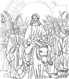 Jesus Entry Into Jerusalem Coloring Page From Holy Week In Category Select 28148 Printable Crafts Of Cartoons Nature Animals Bible