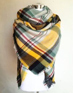 Plaid Yellow, Black, and Green Mix Blanket Scarf For Fall and Winter