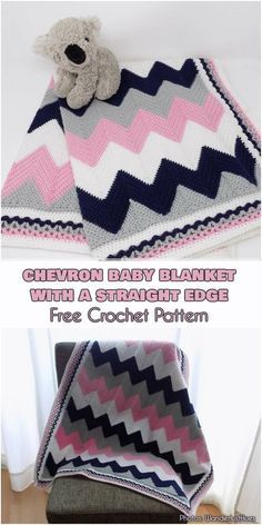 chevron baby blanket with a straight edge Free Crochet Pattern Are you looking for expressive and geometric pattern for baby blanket project? You have just found it! Beautiful chevron blanket will be perfect for any Crochet Blanket Border, Crochet Baby Blanket Beginner, Crochet Ripple, Crochet Motifs, Crochet Blanket Patterns, Baby Patterns, Baby Knitting, Free Crochet, Chevron Crochet Patterns
