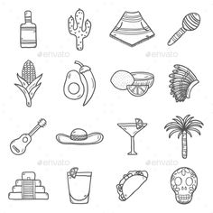 Set Of Cute Hand Drawn Outline Icons On Mexico by petite_lili Set of cute hand drawn outline icons on Mexico theme: sombrero, poncho, tequila, coctails, taco, skull, guitar, pyramid, avocado,