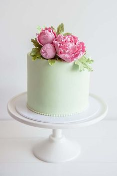 Shop Birthday Party Lime green cake topped with fancy pink sugar flowers from a Flower Shop Birthday Party on Kara's Party Ideas Pretty Cakes, Beautiful Cakes, Amazing Cakes, Bolo Floral, Floral Cake, Green Birthday Cakes, Cake Birthday, Peony Cake, Green Cake