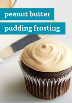 Peanut Butter Pudding Frosting – Rich and creamy with cold milk, vanilla pudding, and delicious peanut butter, this frosting would taste amazing on your favorite cake recipe!