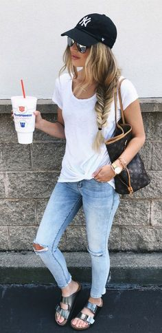 #summer #outfits Black Cap + White Tee + Destroyed Bleached Skinny Jeans // Shop This Outfit In The Link