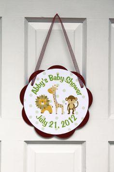 Jungle Door Sign Baby Shower- Brown & Green