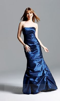 Natural Long Faviana 6533,Taffeta Dark Navy Prom Dresses