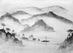 Chinese painting mountains and water Stock Illustration , Chinese Boat, Boat Drawing, Exploration, Water Walls, Mountain Paintings, Painting Wallpaper, Fabric Wall Art, China Painting, Mountain Landscape