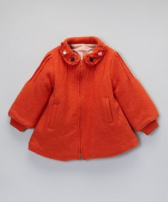 Take a look at this Orange Wool Peacoat  - Infant, Toddler & Girls by Sweet Charlotte on #zulily today!