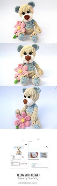 Teddy With Flower Amigurumi Pattern
