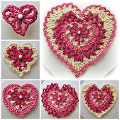 Ravelry: Build-a-Heart, Lacy Crocheted Heart Applique or Ornament pattern by Heritage Heartcraft ✿Teresa Restegui http://www.pinterest.com/teretegui/✿