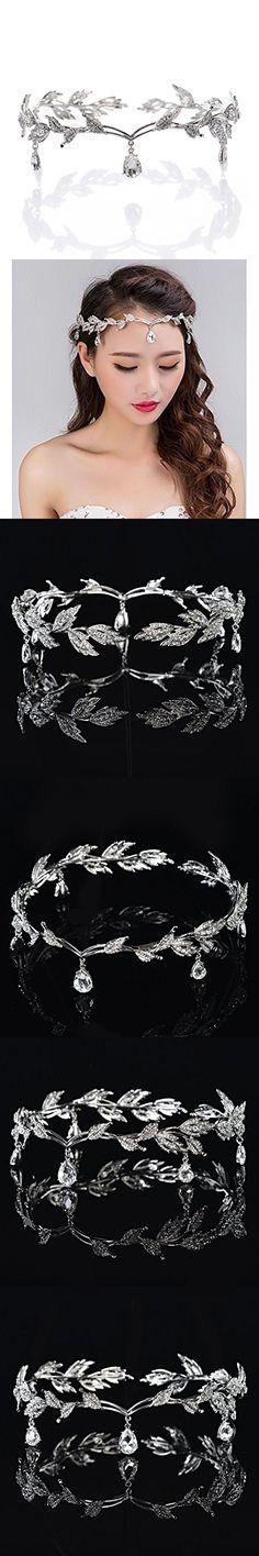 Crystal Headpiece Beaded Forehead Band Crystal Rhinestones Wedding Head Band Bridal Hair Accessorie Headpieces Silver