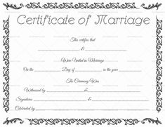 Marriage Certificate Template Microsoft Word  Selimtd  Marriage