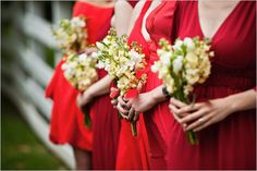 Look at the colour contrast for bouquets if they wear red. Red Bridesmaids, Always A Bridesmaid, Red Bridesmaid Dresses, Prom Dresses, Wedding Invitation Inspiration, Winter Wedding Inspiration, Wedding Ideas, Traditional Wedding Invitations, Simple Flowers