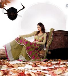 $138.40 Green Stone and Thread Work Pakistani Salwar Kameez 22381