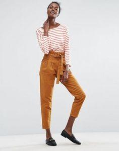 ASOS – Paperbag-Hose mit hoher Taille und geradem Schnitt