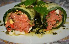 Rollitos de pepino con tartar de salmón
