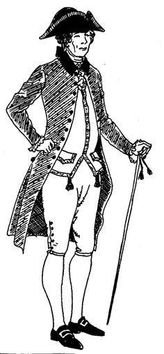 The typical dress of a country gentleman in the early regency period of england