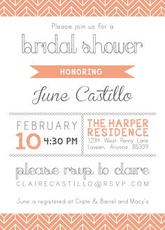 wedding shower invitations wording - Google Search
