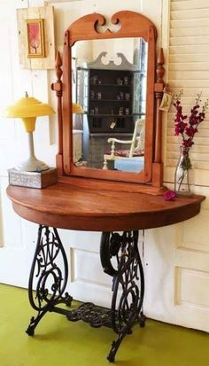 Newest Screen sewing table cabinet Tips 18 Ideas Sewing Machine Cabinet Vanity For 2019 Furniture Vanity, Cheap Furniture, Unique Furniture, Rustic Furniture, Furniture Makeover, Vintage Furniture, Furniture Ideas, Furniture Stores, Outdoor Furniture