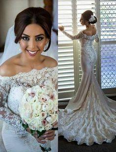 WD15 Mermaid Lace Long Sleeve Wedding Dresses,Long Wedding Dress Custom Made Wedding Gown,