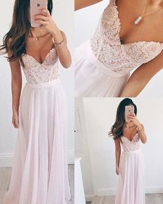 Custom Made Spaghetti Straps Pink Lace Prom Dresses,Sweetheart Long Prom Dress,Chiffon Evening Dress Prom Gowns,Graduation Dresses Party Dress Baby Pink Prom Dresses, Prom Dresses 2018, Bridesmaid Dresses, Prom Gowns, Dress Prom, Party Dress, Long Dresses, Dress Lace, Formal Gowns