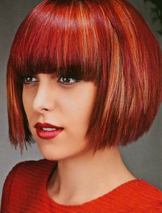 Red Bob with Bangs